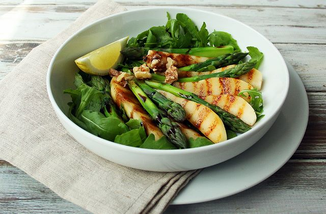 asparagus grilled pear salad vegan plant based
