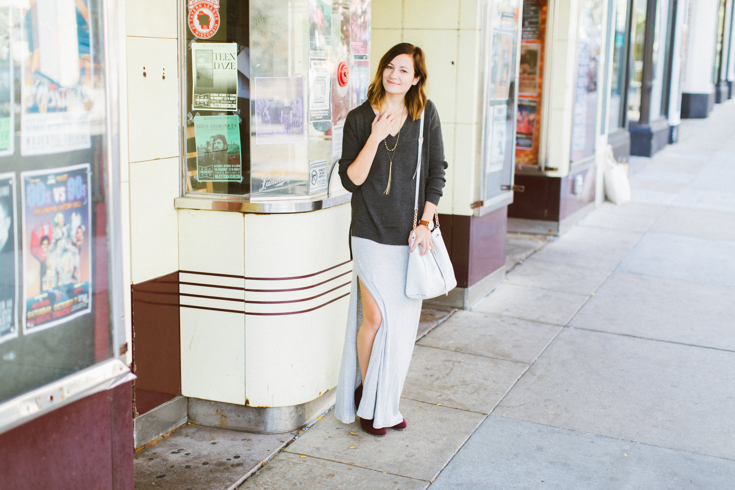 Maxi + Sweater | Katelyn Now | Grey Maxi Dress | Grey Sweater