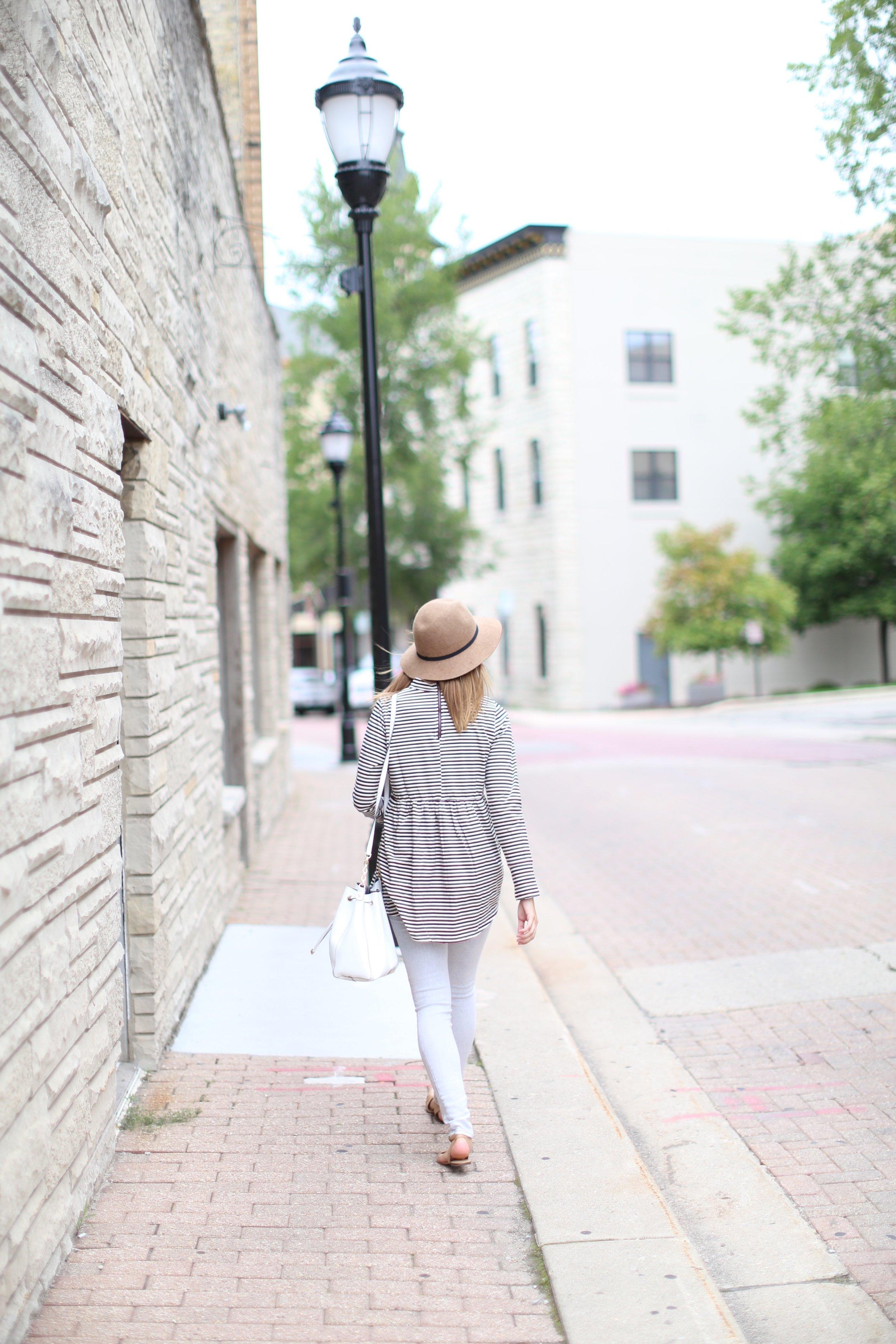 Striped Babydoll Top + Grey Jeans + Felt Hat   Katelyn Now