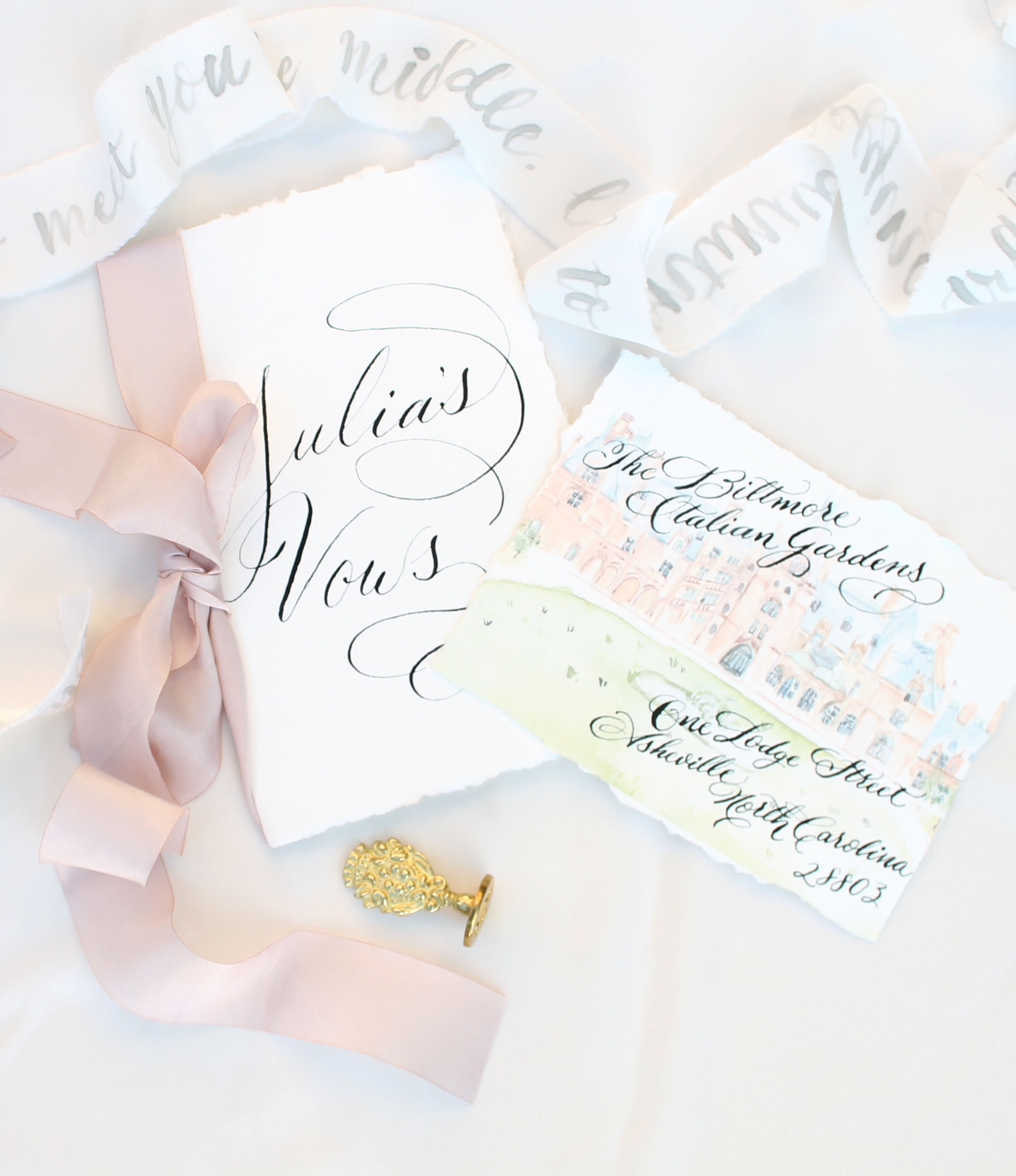 Vow book design Biltmore Wedding invitation design North Carolina