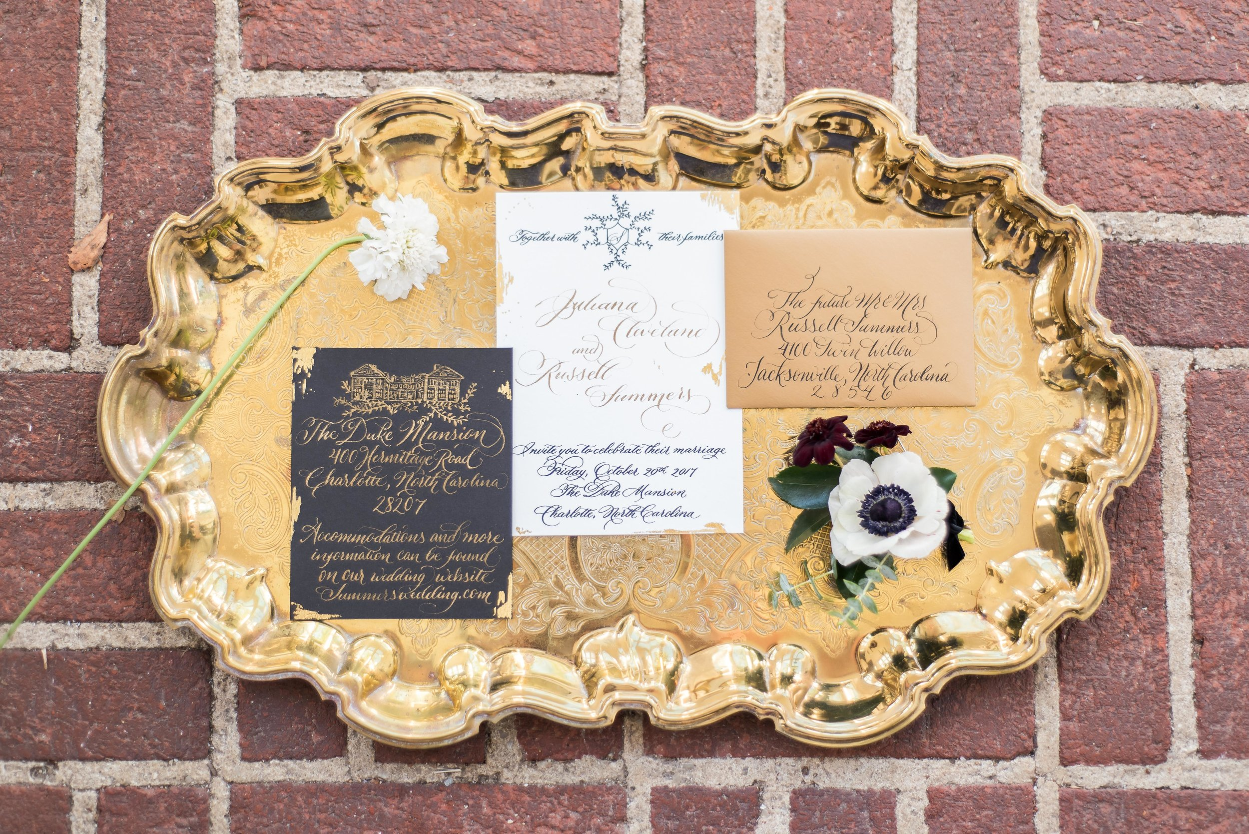 Black and Gold wedding invitation suite, Duke Mansion