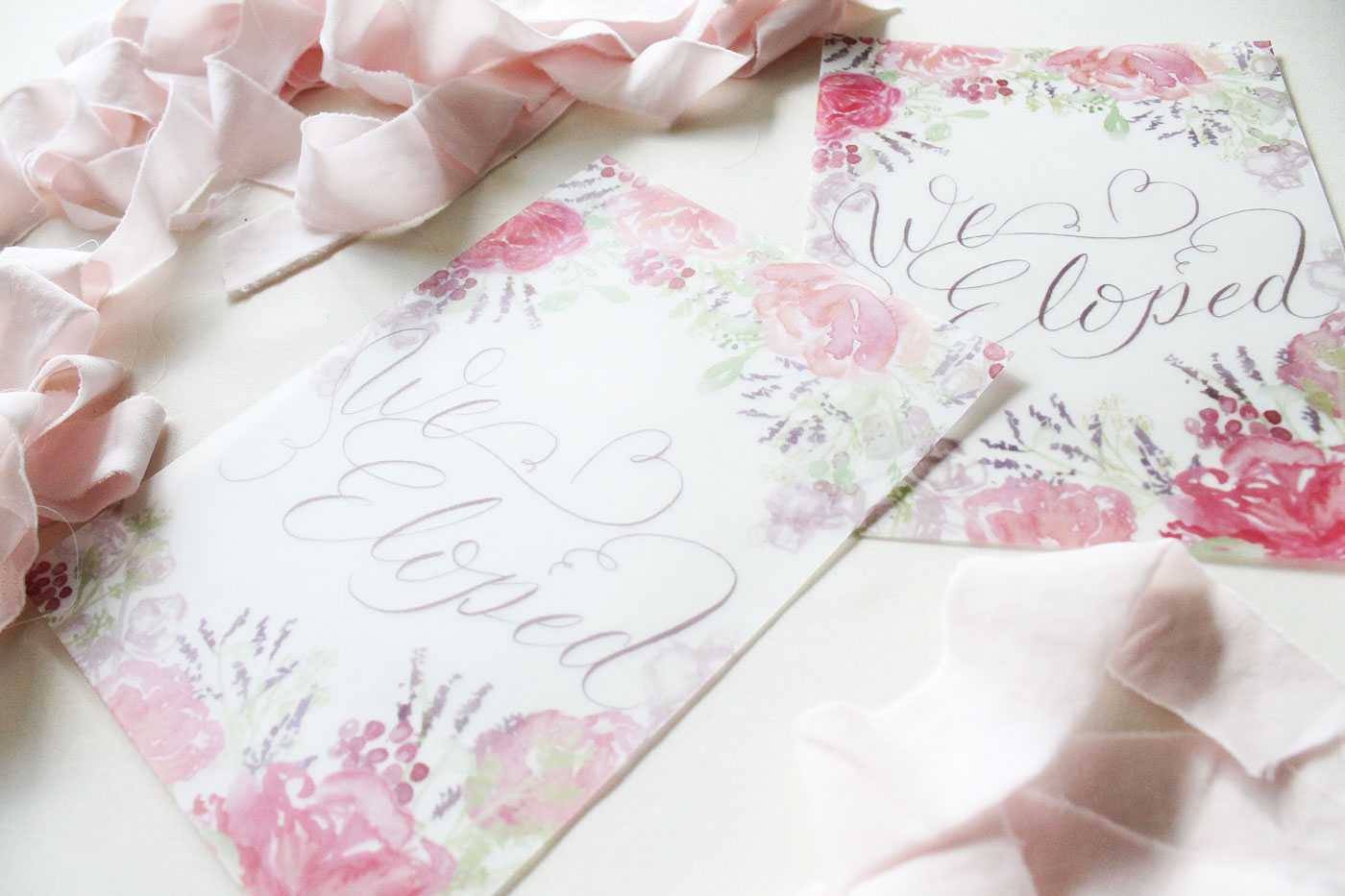 we eloped, vellum printed wedding elopement announcement, custom design from Blush and Blue Designs