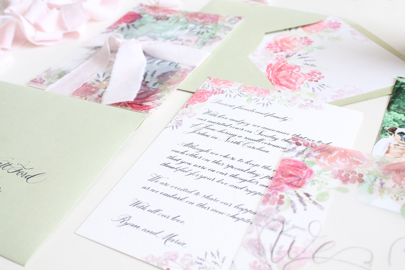 Elopement suite design from Blush and Blue Designs, elopement letter in calligraphy and vellum details