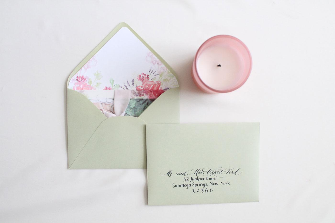 envelope calligraphy, envelope liner, custom watercolor floral liner.