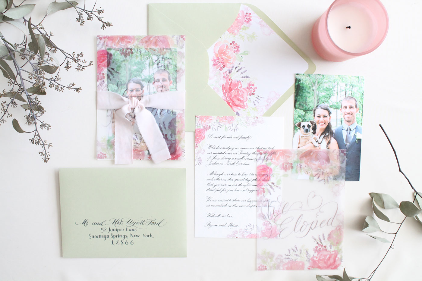 Elopement announcement suite, custom invitations from Blush and Blue Designs. calligraphy and watercolor