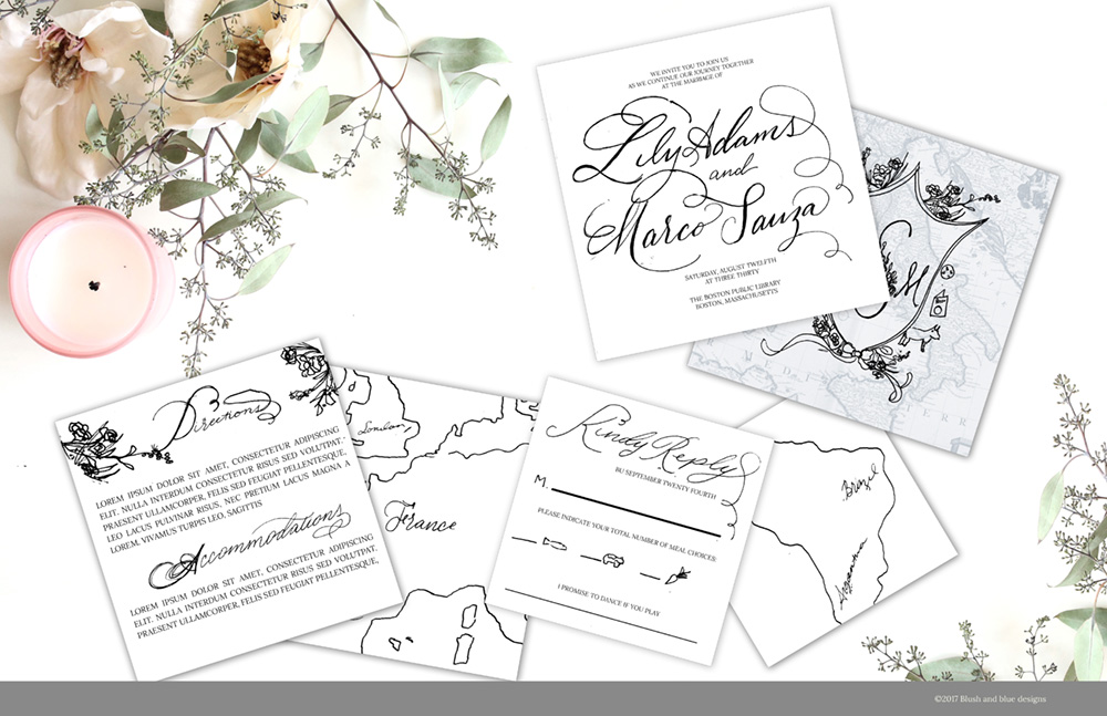 Above is a sketch I did for a travel themed wedding. All the floral squiggles were done in watercolor, and the words were written in calligraphy. Notice how I didn't spend a lot of time perfecting these. It's just not necessary. What's important is that you get the general look and feel established so you have a plan in place when it comes time to make your artwork and final layouts.