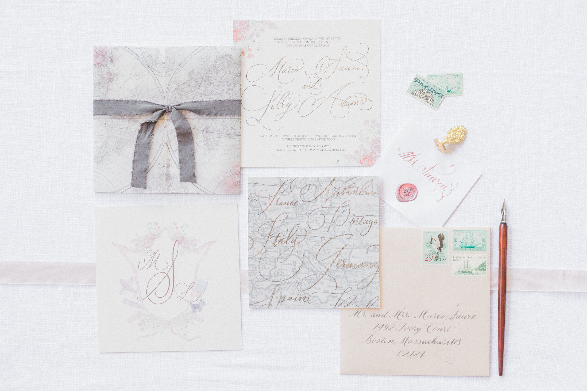 And here is the final invitation that resulted from the above sketch. See how the general placements and flow of the wording carried over for the final?  Photo by Madeleine Collins Photography