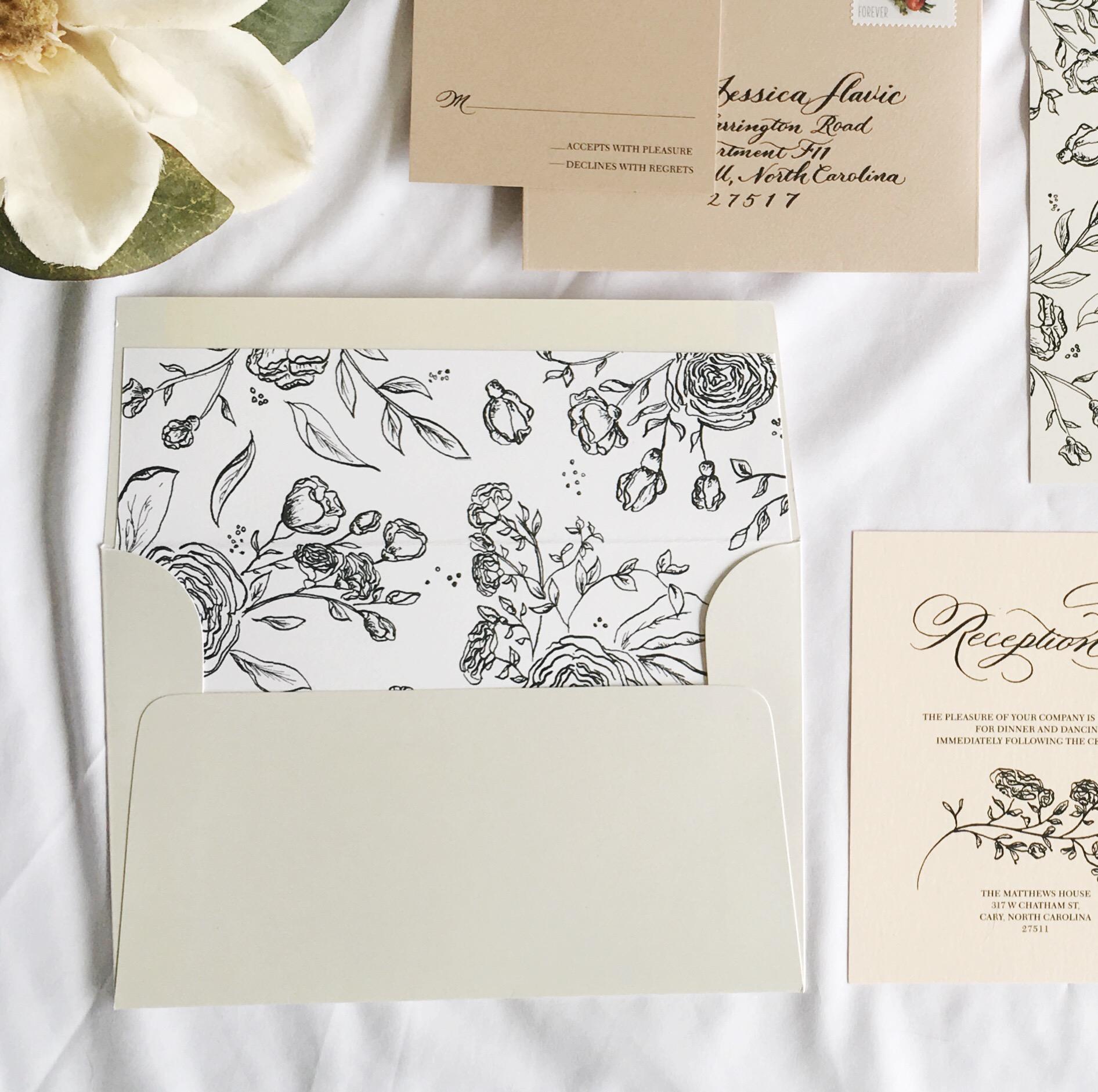 Envelope Liner. Custom Wedding Invitation Design. Raleigh North Carolina