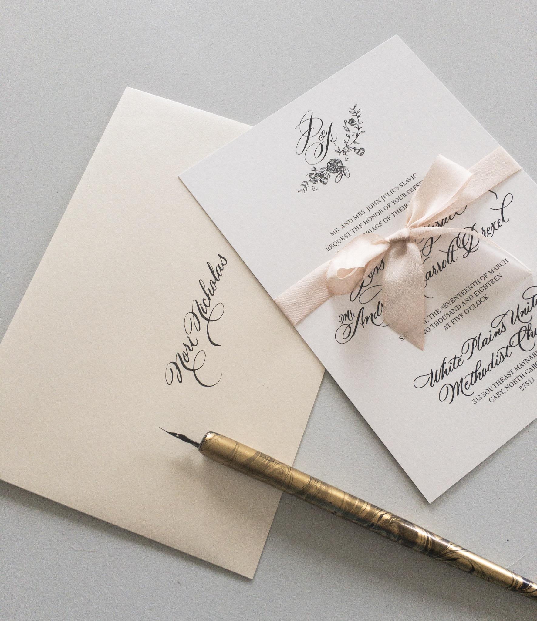 Wedding Invitation Design, Cary, North Carolina. Raleigh North Carolina. Fine Art Wedding Design