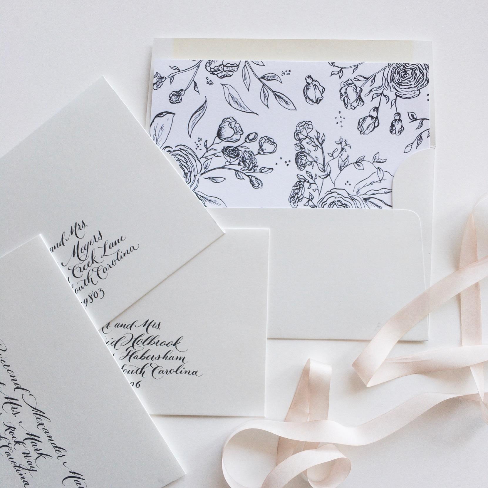 Envelope Liner. wedding Invitation Design. Raleigh North Carolina