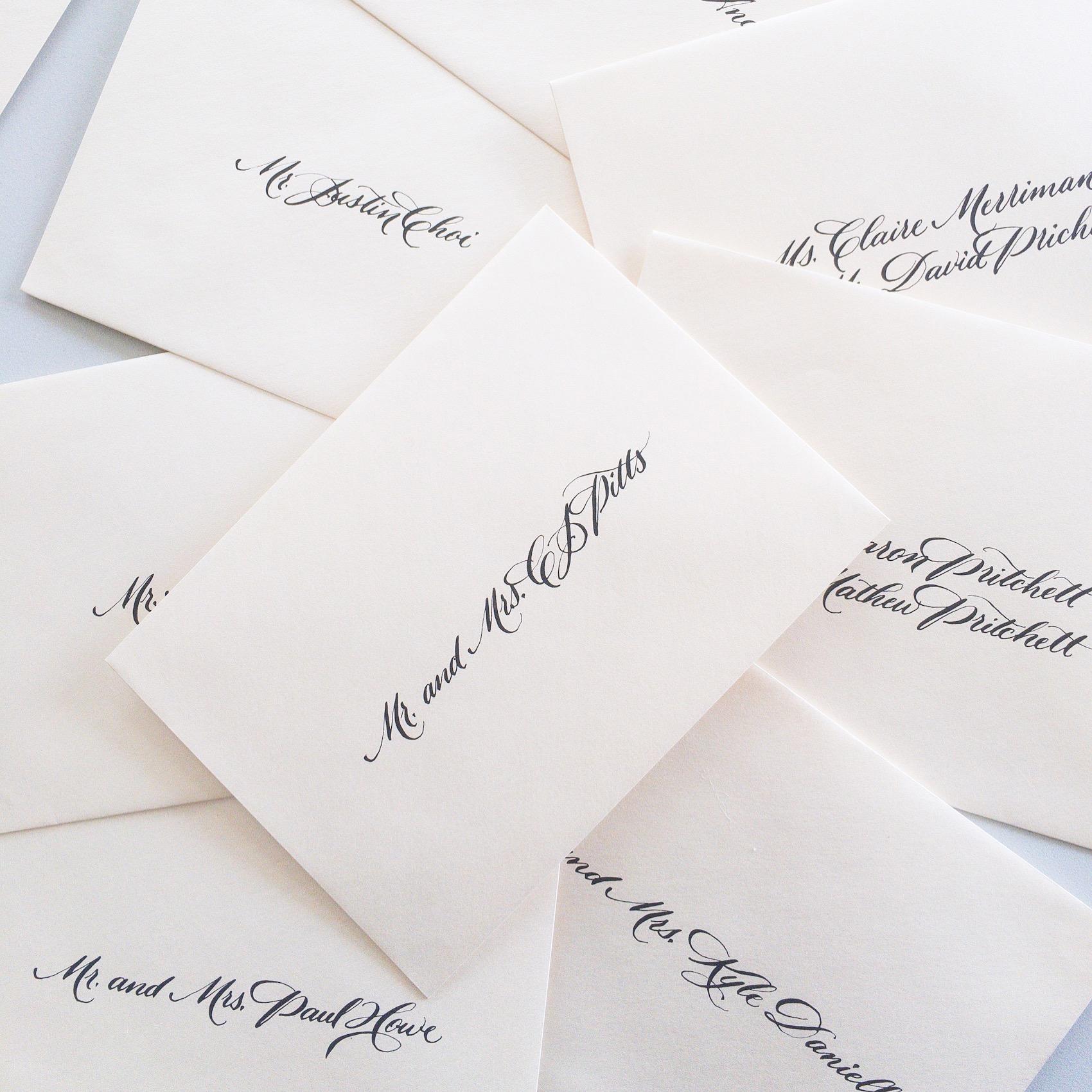 Envelope calligraphy. Wedding invitation calligrapher.