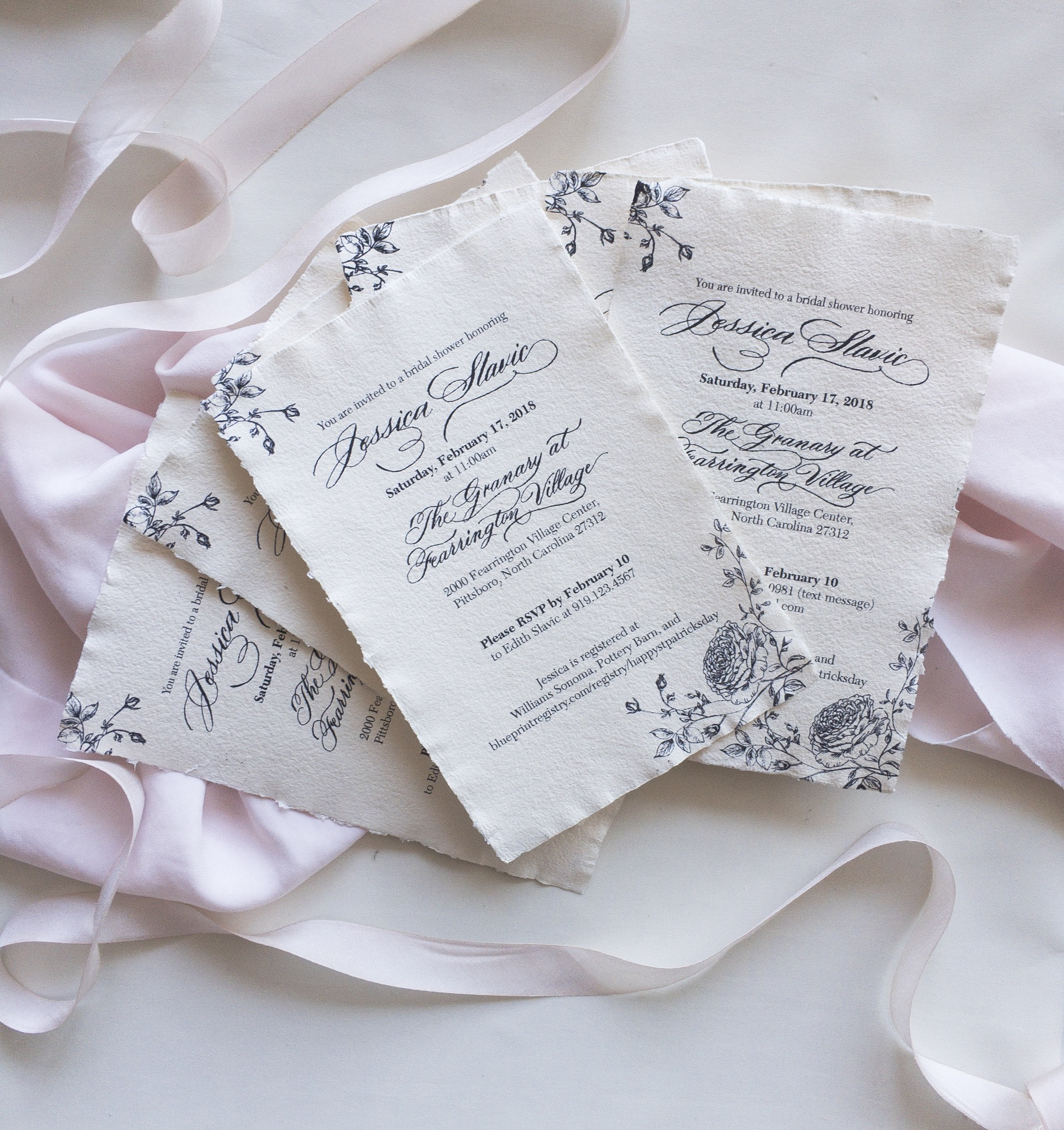 Wedding Shower Invitation Handmade paper. Southern Wedding. North Carolina Calligrpahy