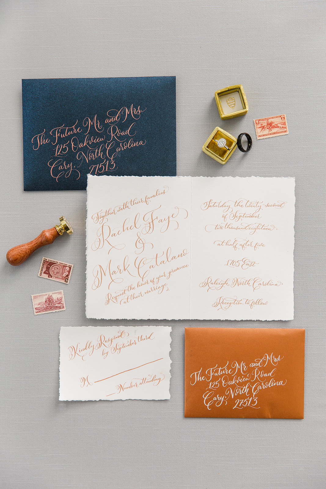 Vintage postage calligraphy envelopes, Raleigh North Carolina