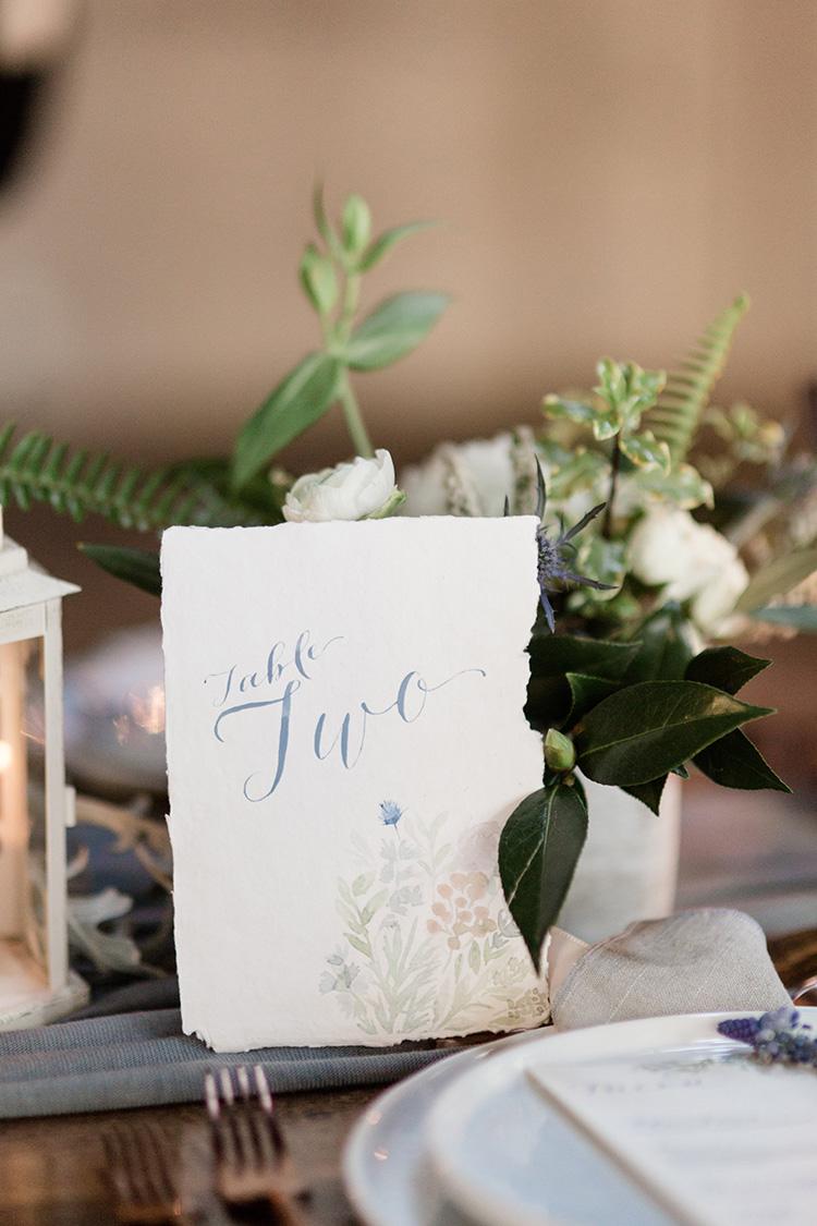table number, handmade paper, watercolor artwork custom designed wedding stationery