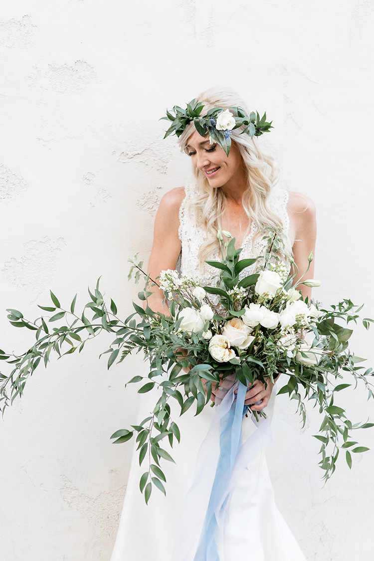 Bridal floral crown and gorgeous green and white bouquet. Wedding floral design