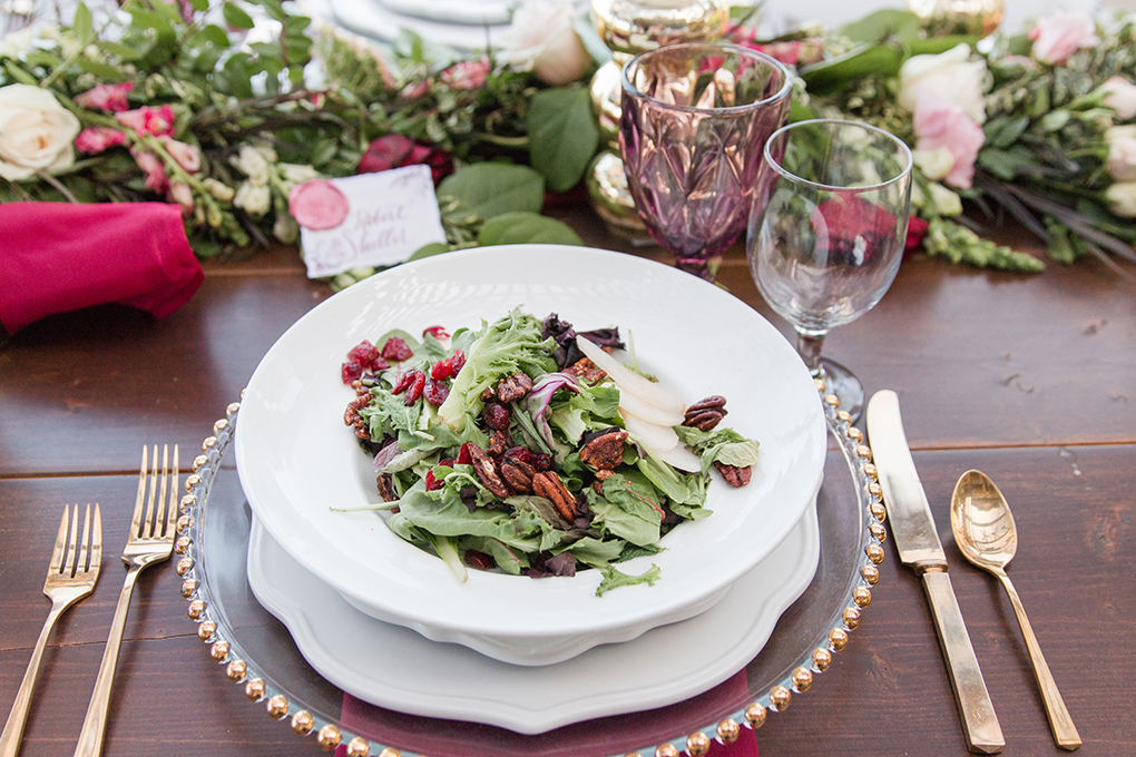 Wedding food. The perfect berry infused salad for a berry toned wedding theme. Complete with the perfect antique and vintage tableware