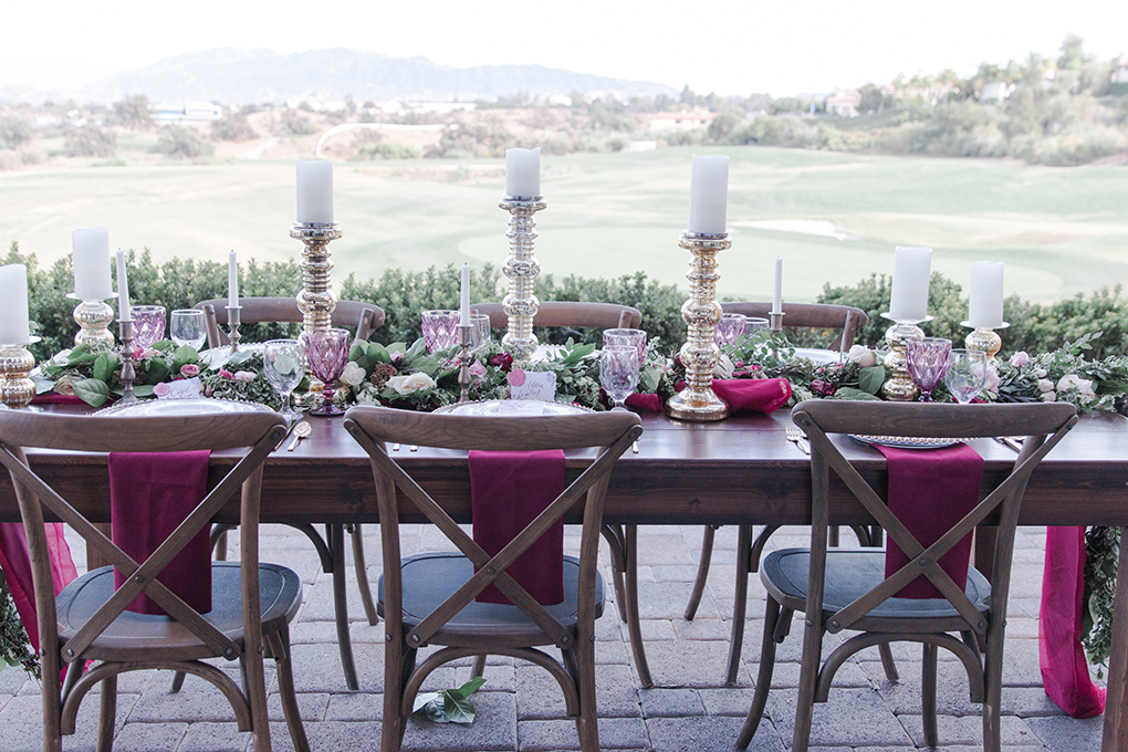 The perfect chic table design overlooking a California vineyard. The perfect setting for your vintage infused wedding.