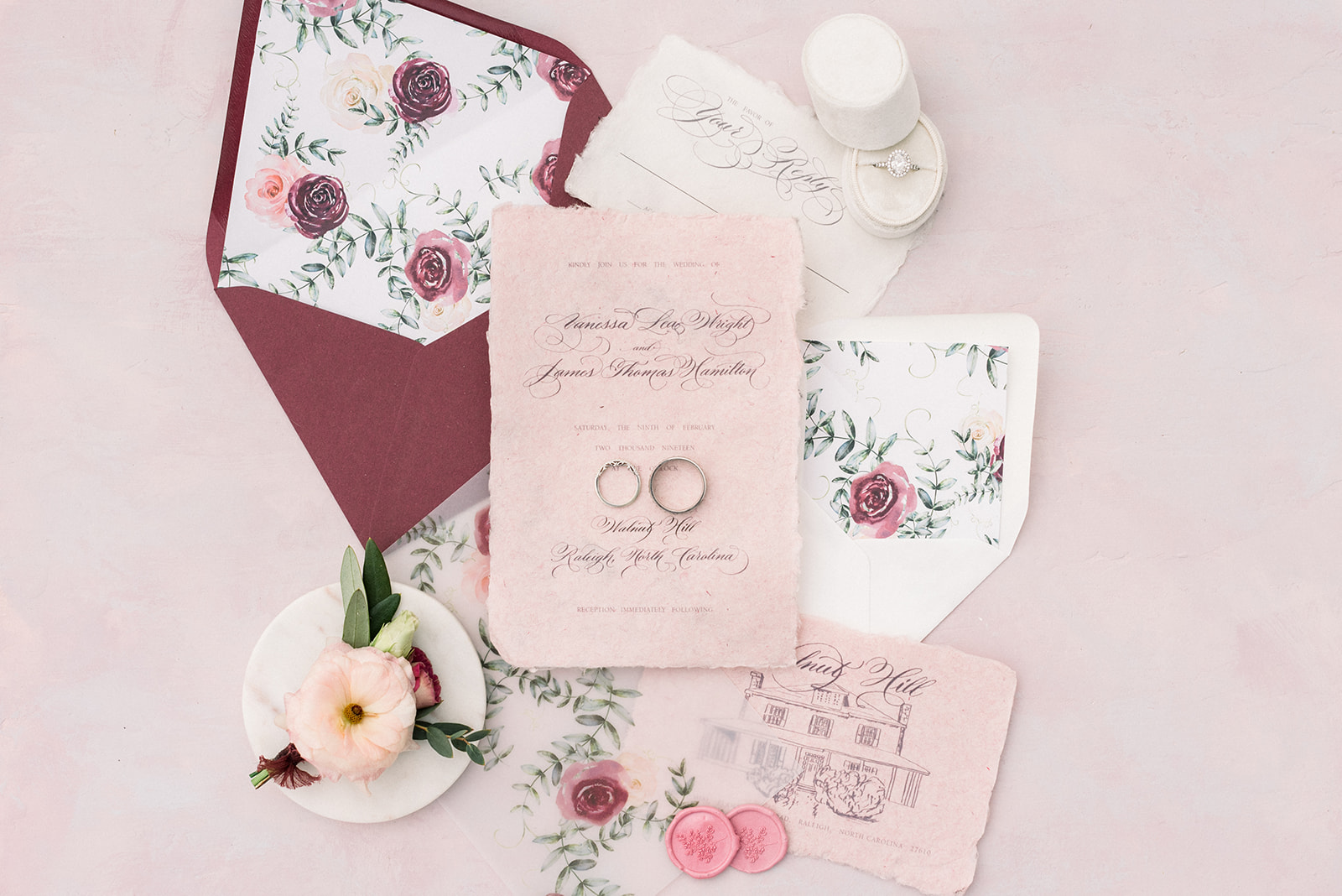 Wedding invitation design watercolor