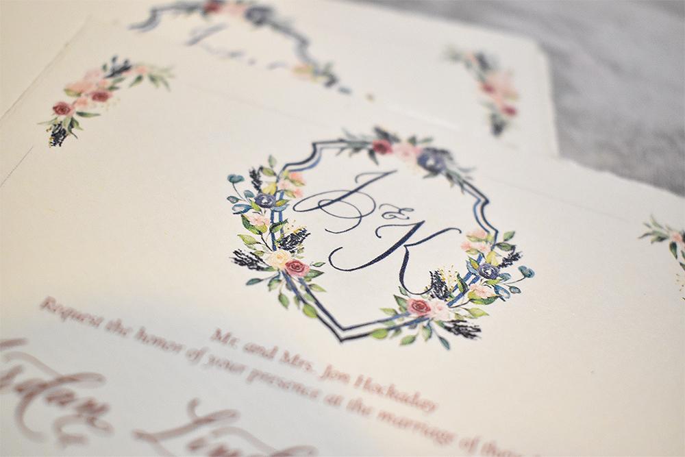 Custom wedding monogram watercolor crest design