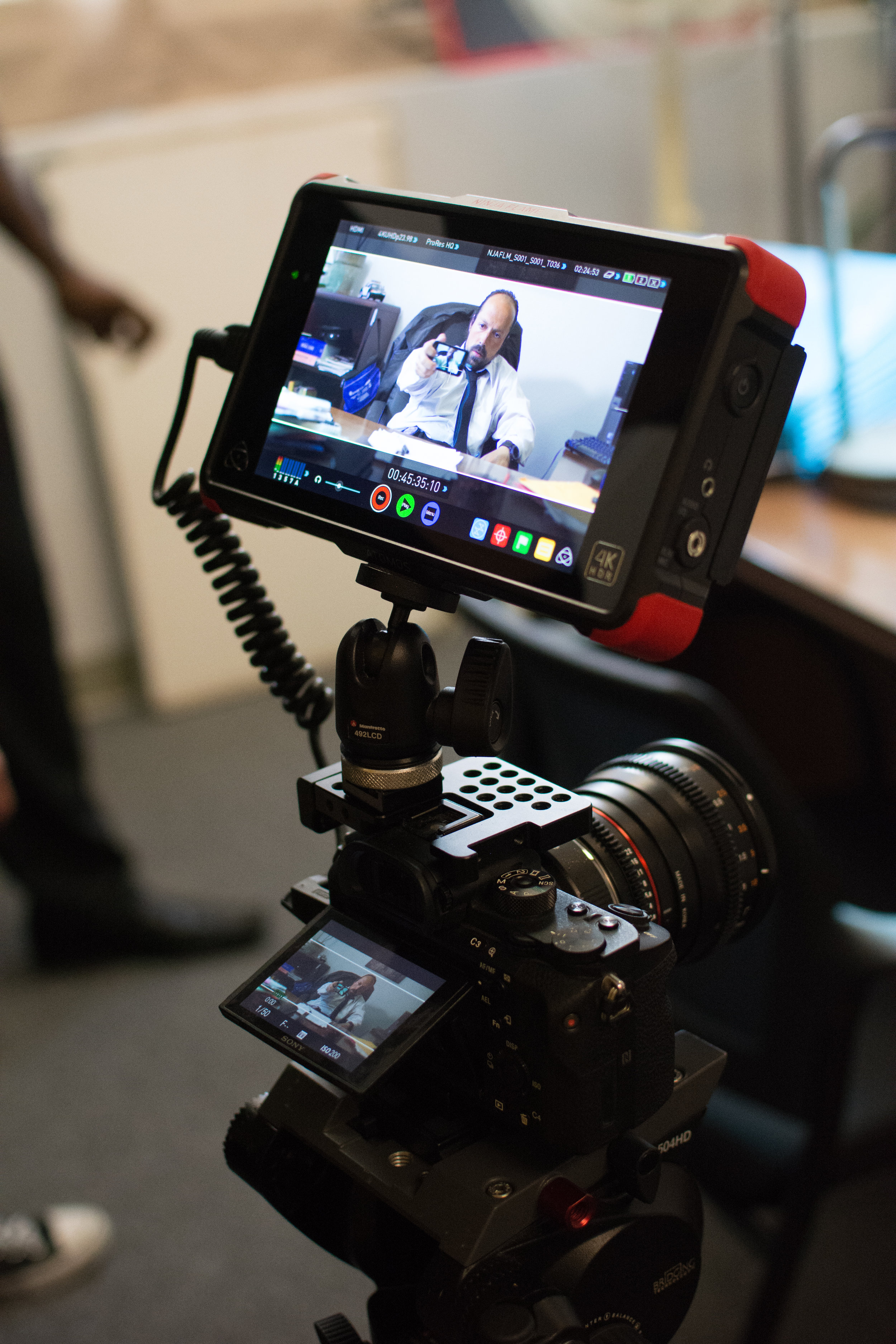 The Setup: Sony A7s ii, Rokinon Cine DS Lenses, Ninja Flame Recorder