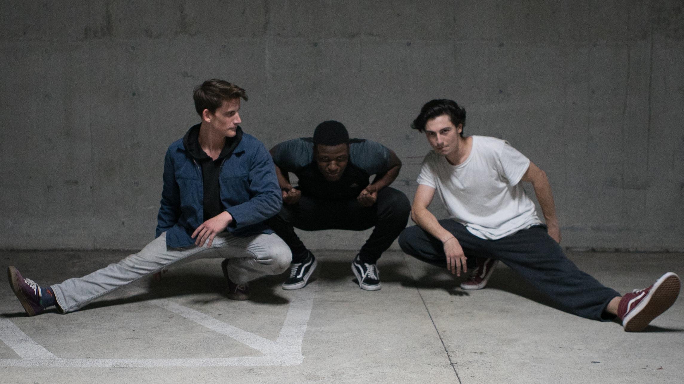Actors Ben Breitenstein & Malachi Beasley stuntin' with fight choreographer Ari Lerner.