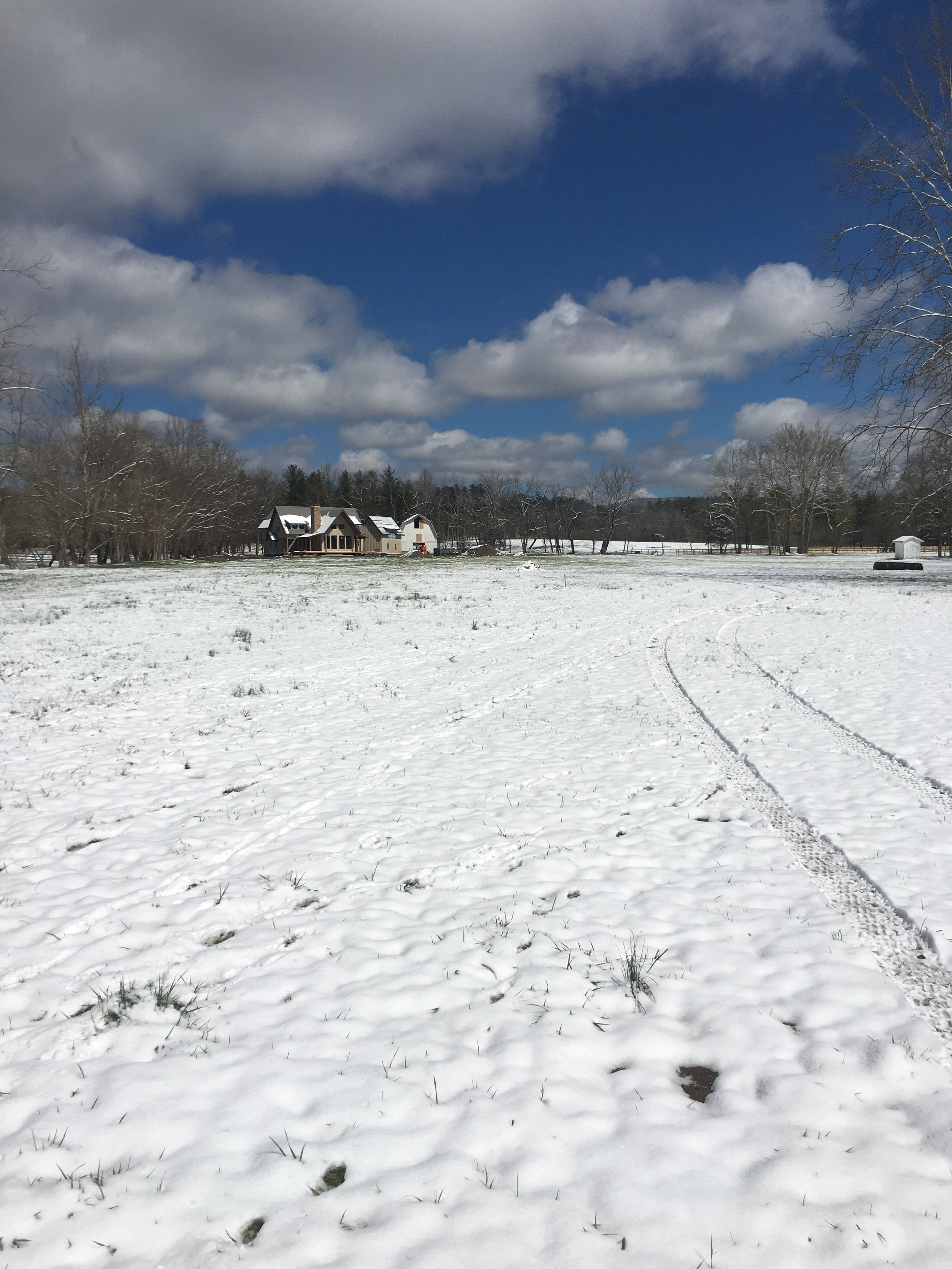 Future home site blanketed in a recent spring snow!