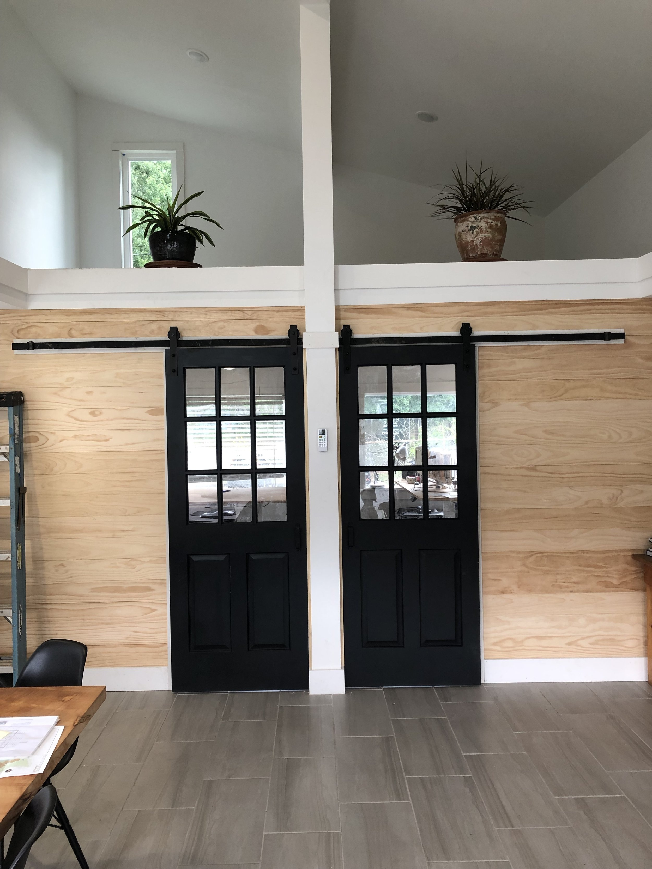 salvaged Barn Doors at our office