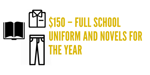 Our team uniform may be out of financial reach for some families. That is why our school seeks to provide every student with a full school uniform, free of charge. Your donation can help support one of our students to have a full uniform and their individual novels for the year.