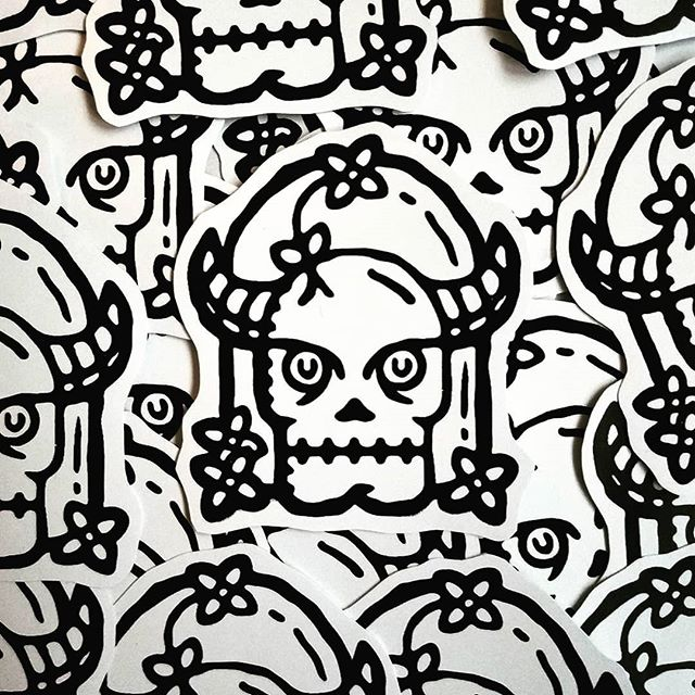 Skull stickers! My design printed by screenprinting skull master @rxskulls and his apprentices.  #stickers #illustration #skull