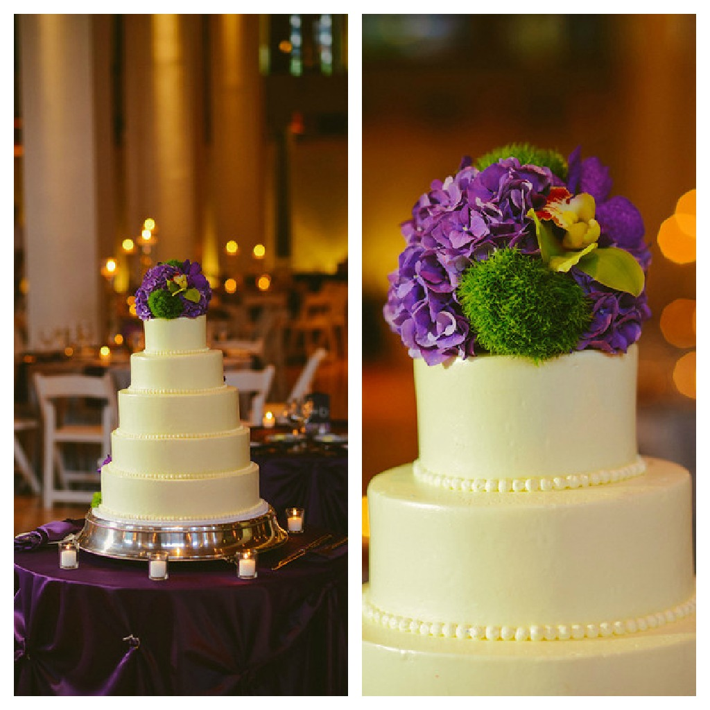 12. Karen.Boris.River East Art Center. Fragola Productions. Sweetchic Events. BomBon Bakery. White Wedding Cake with Hydrangea and Green Trick Accents