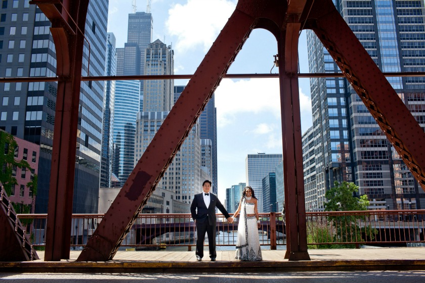 2 Chicago Cultural Center Chinese Indian Wedding Kinzie St Bridge