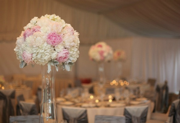 14 Erica Rose Photography Vale of Enna tall centerpiece pink peonies whte hydrangea dusty miller Eaglewood Resort Sweetchic Events
