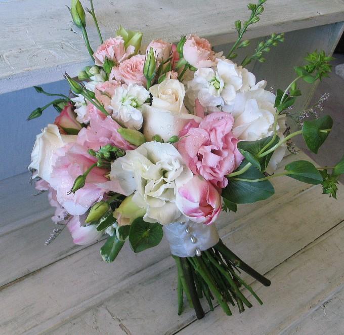 pink white lisianthus rose romantic bouquet  Source
