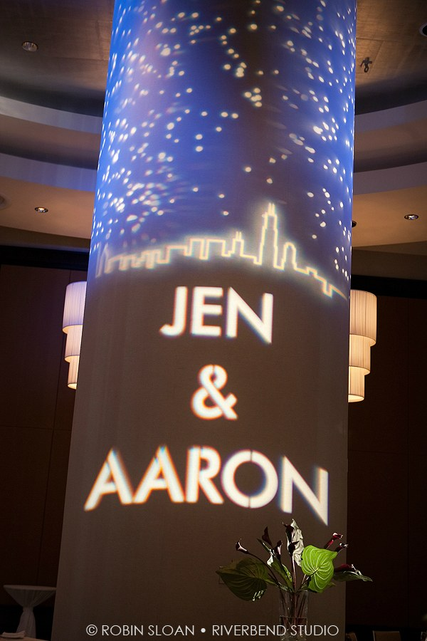 19 Jen.Aaron Trump Towers Ballroom Chicago Wedding Robin Sloan Riverbend Studio Sweetchic Events Skyline gobo lighting