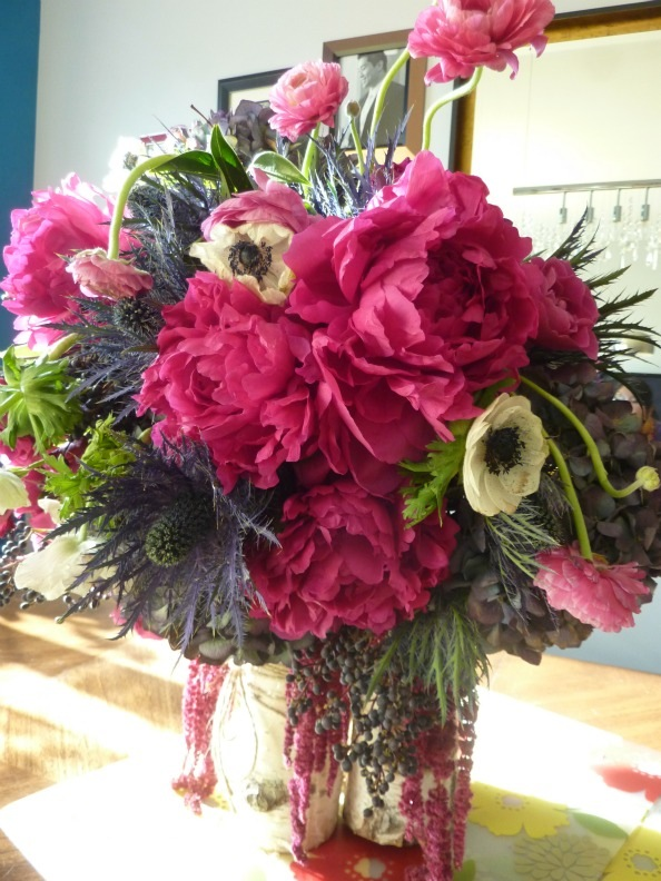 Vale of Enna fuchsia peonies thistle ranunculous anemones spray roses birch branches 1 small sweetchic events blog