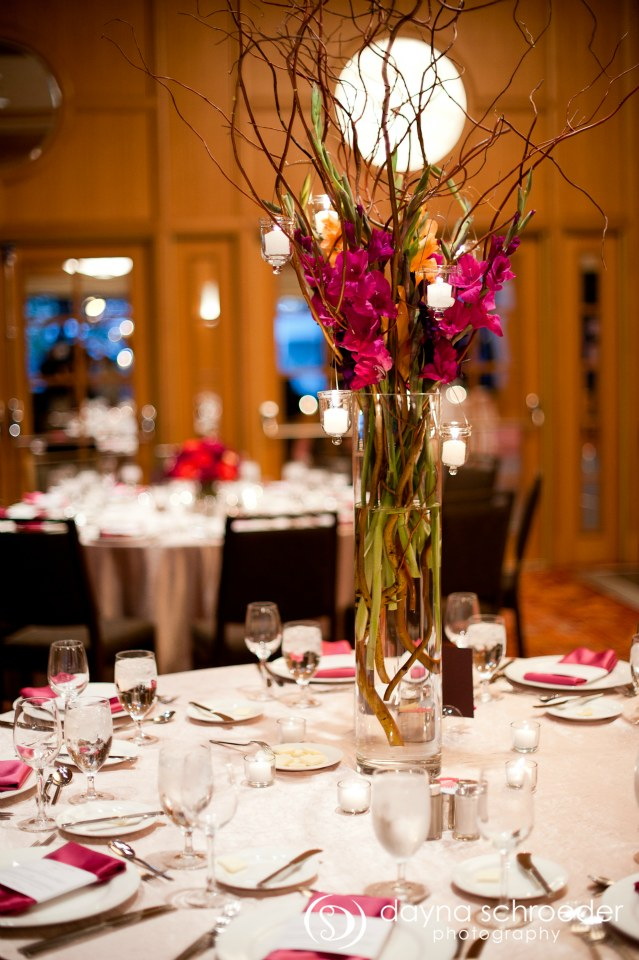 33 Westin River North chicago wedding sweetchic events dayna schroeder vale of enna tall gladiola willow centerpiece