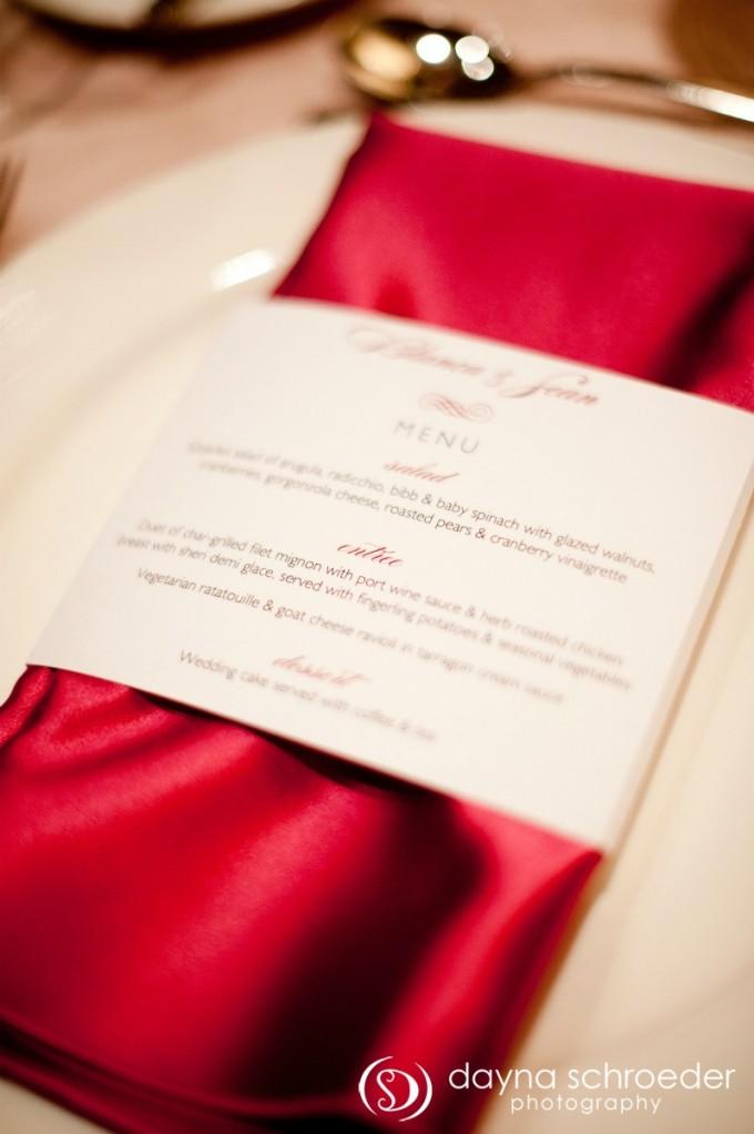 36 Westin River North chicago wedding sweetchic events dayna schroeder fuchsia napkin menu wrap
