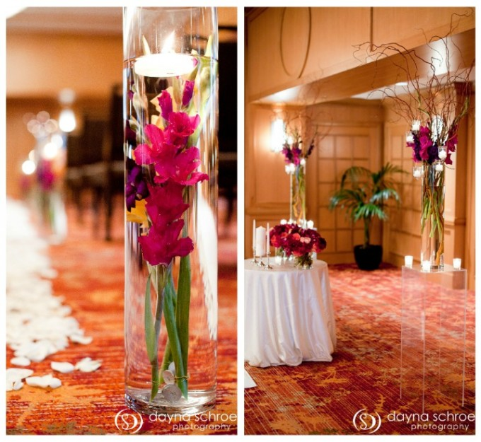 Westin River North Chicago wedding ceremony dayna schroeder photography sweetchic events vale of enna fuchsia purple gladiolas willow branches
