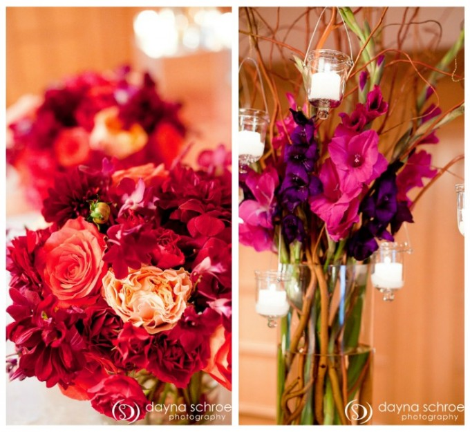 Westin River North Chicago wedding ceremony dayna schroeder photography sweetchic events vale of enna low centerpiece fuchsia purple pink magenta