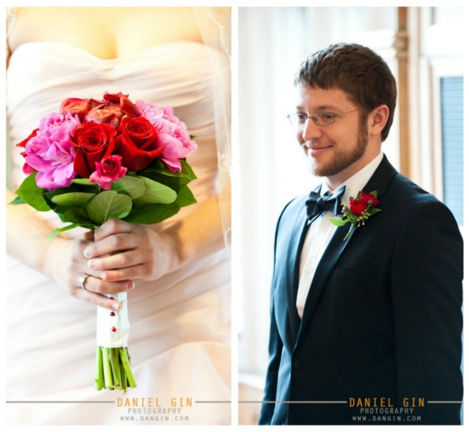 9 Morton Arboretum wedding Dan Gin Photography Sweetchic Events fuchsia and red peony rose bouquet