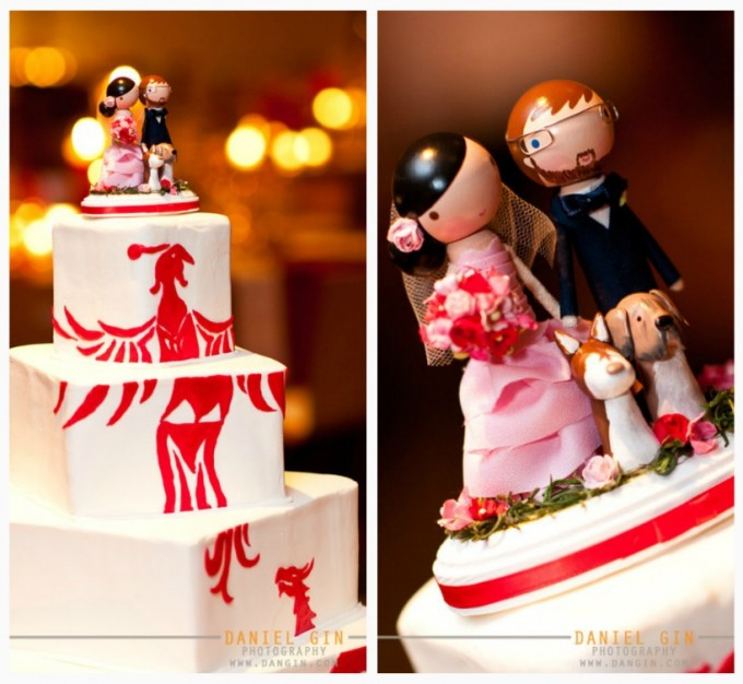 Morton Arboretum Gingko room dan gin photography sweetchic events chinese wedding cute custom cake topper with dogs