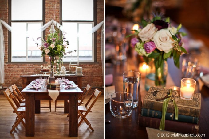 21 KitchenChicago Wedding Cristina G Photography Sweetchic Events Reception Tables, Flower Vintage Books Candle Centerpieces