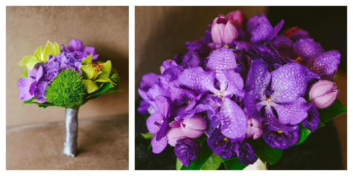 2. Karen.Boris.River East Art Center. Fragola Productions. Sweetchic Events. Flowers. Purple Hydrangea, Orchids, Tulips, Green Trick Bouquets