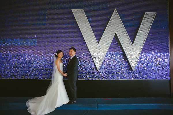 26. Karen.Boris.River East Art Center. Fragola Productions. Sweetchic Events. Bride and Groom in W Lakeshore Lobby