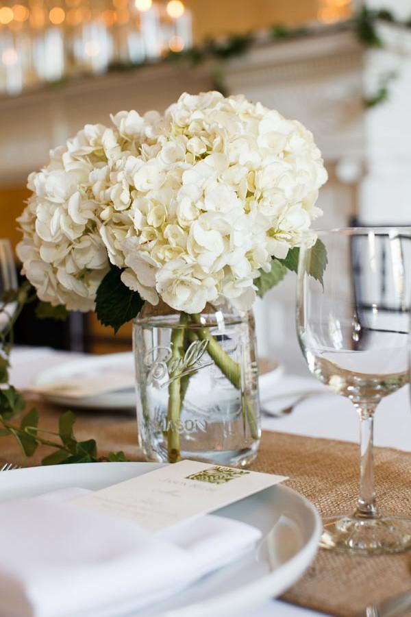 66. Melissa.Dave. Wilder Mansion. Dennis Lee Photography. Sweetchic Events. White Hydrangea Centerpiece
