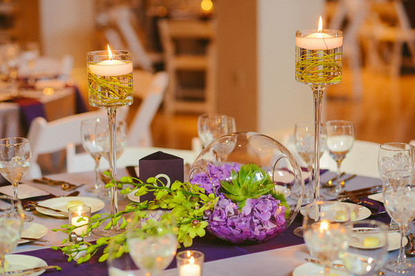 7. Karen.Boris.River East Art Center. Fragola Productions. Sweetchic Events. Flower Firm. Sphere with Green Trick and Purple Hydrangea