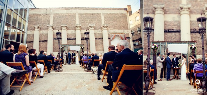 outdoor ceremony at architectural artifacts chicago -  Olivia Leigh Photography