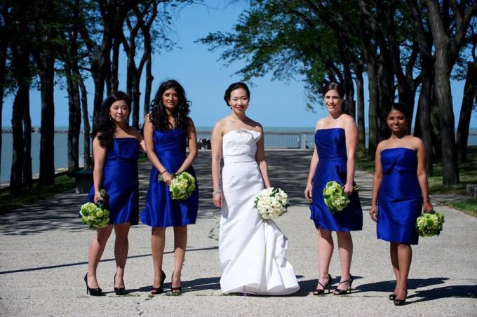 Chicago Illuminating Company. David Wittig Photography. Sweetchic Events. Scarlet Petal. Bridesmaids. Colbalt Blue Dresses. Olive Park.