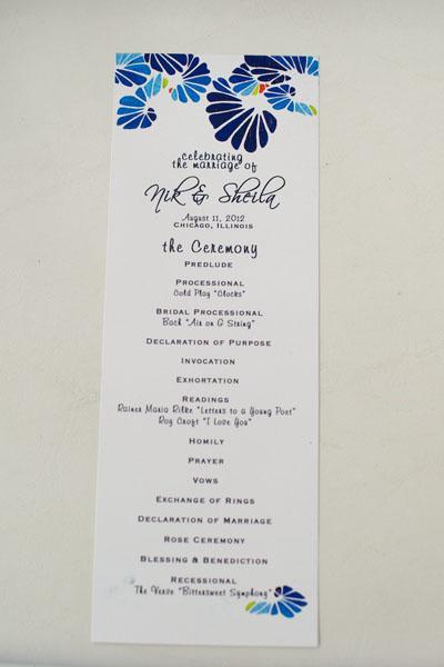 Chicago Illuminating Company. David Wittig Photography. Sweetchic Events. Wedding Ceremony Program.
