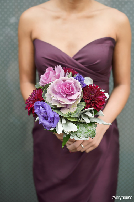 12. The Ivy Room. Avery House. Sweetchic Events. Flower Firm. Merlot Dahlia, Purple Kale, Succulent, Dusty Miller, Purple Lisianthus Bridesmaids Bouquet